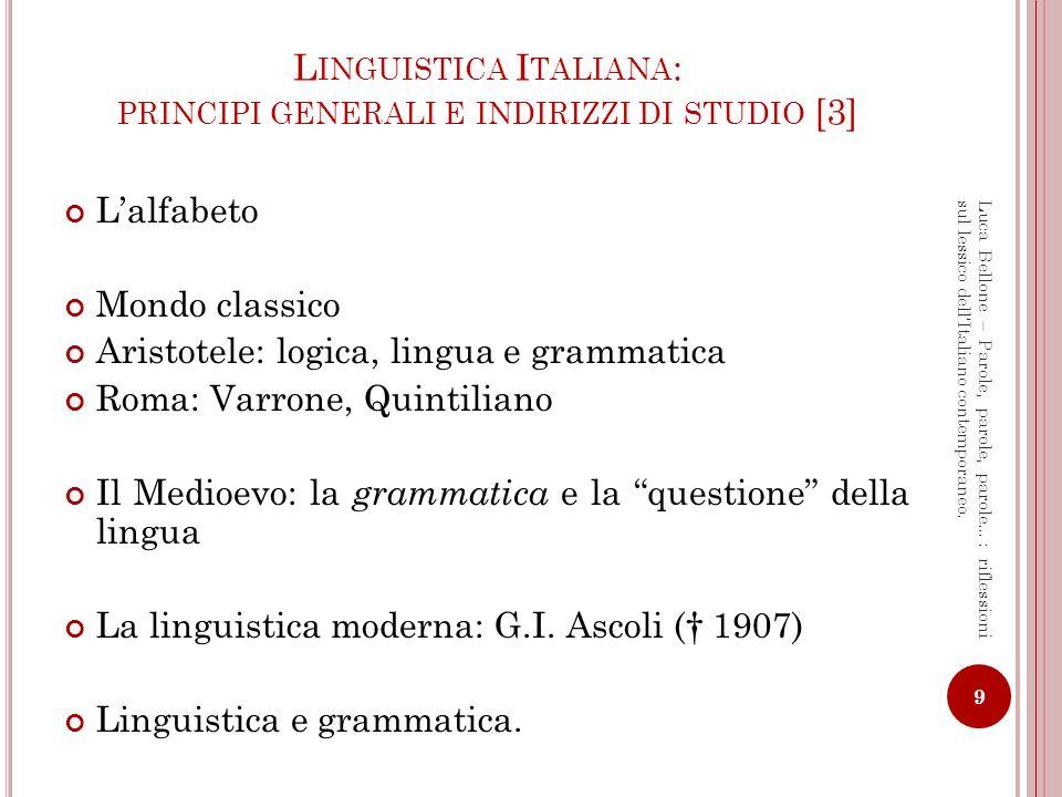Linguistica Italiana: principi generali e indirizzi di studio [3]